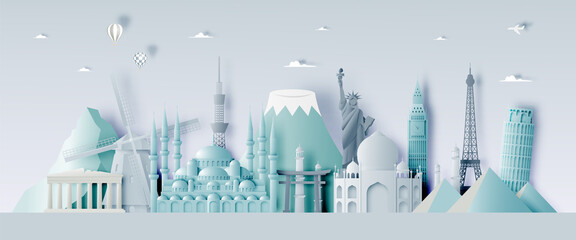 Obraz Various travel attractions in paper art style - fototapety do salonu
