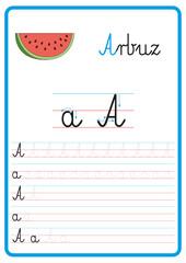 Fototapeta Plansza do nauki pisania liter alfabetu, litera a obraz