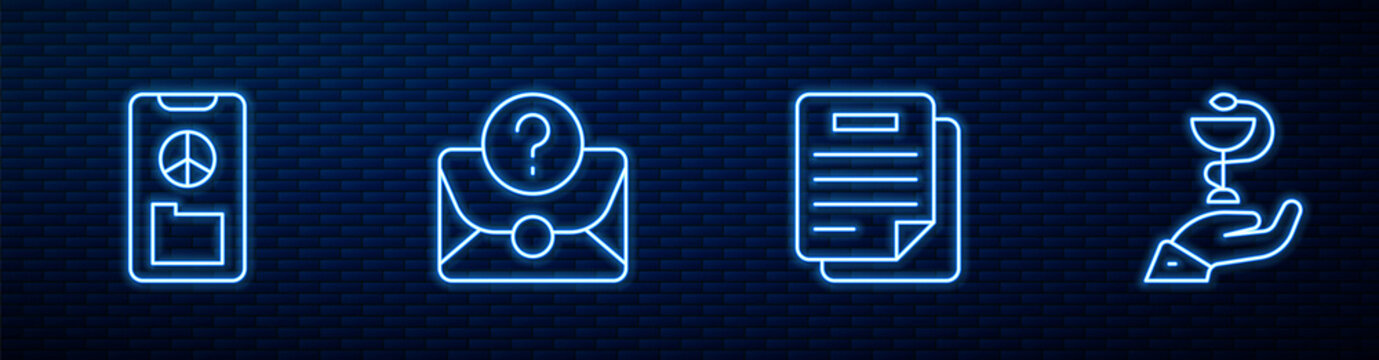 Set line Document, Peace, Envelope with question mark and Caduceus snake medical. Glowing neon icon on brick wall. Vector