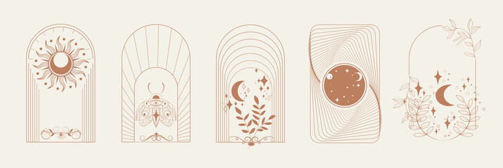 Obraz Esoteric Linear Boho Logos and Frames elements. Boho arch frame with celestial moth, moon, flower. Mystical vector illustration - fototapety do salonu