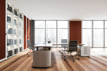 Obraz Red design of walls and cabinet doors in the luxury panoramic workspace - fototapety do salonu