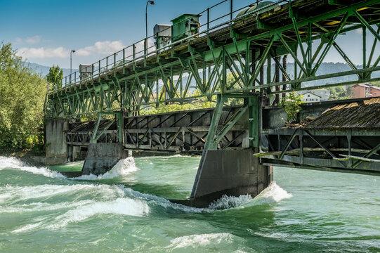 old iron bridge in the flood water