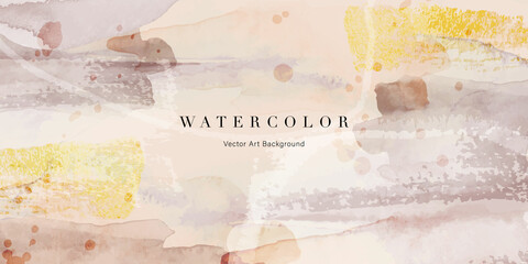 Fototapeta Watercolor art background vector. Wallpaper design with paint brush and gold line art. Earth tone brown, pink, ivory, beige watercolor Illustration for prints, wall art, cover and invitation cards. obraz