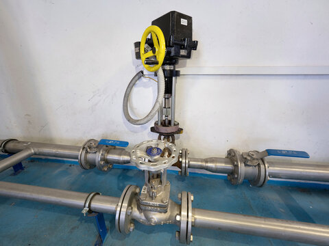 Stainless stopcock valve on stainless gas pipeline branch