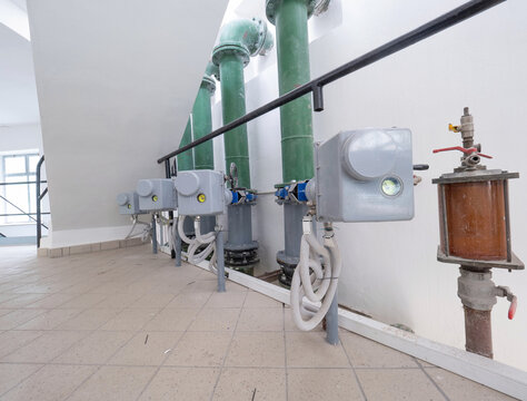 Pumping equipment or system, water supply.  Tile floor in the room