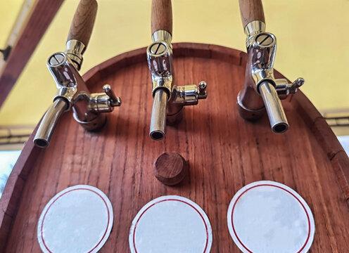 Beer or wine dispenser, Wooden dispenser for three different drinks