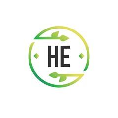 Fototapeta Initial Letter HE Nature Logo Design Template. Green Eco template logo obraz