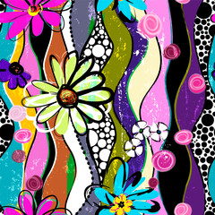 floral seamless background pattern, with waves, dots, paint strokes and splashes