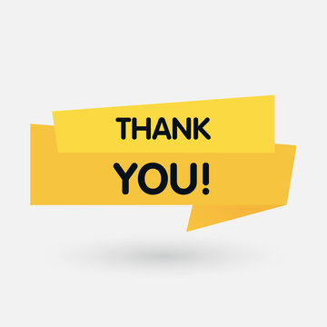 Thank you, yellow label on white background. Vector