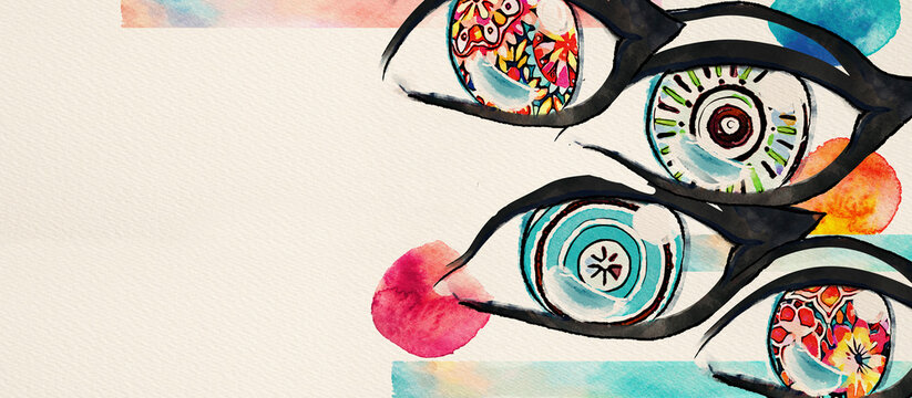 Colored eyes. Watercolor design element