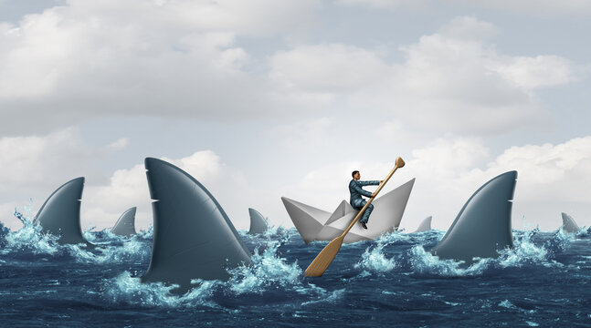 Courage business concept and navigating through troubled waters as a survival strategy solution from risk of challenging conditions