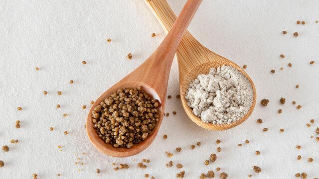 Close-up of semolina and millet flour