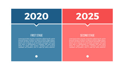 Fototapeta Business process. Chart with 2 steps, options, sections. Vector template. obraz