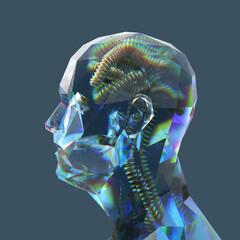Fototapeta artificial glass human head  obraz