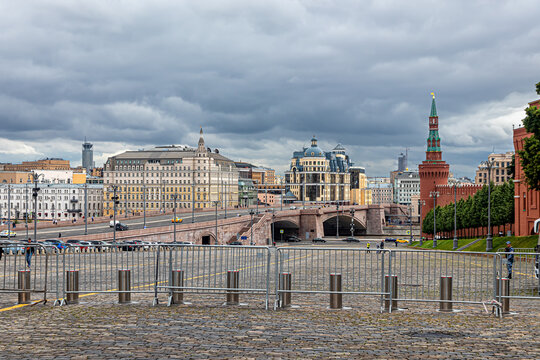Metal fences and automatic bollards restrict traffic to Red Square