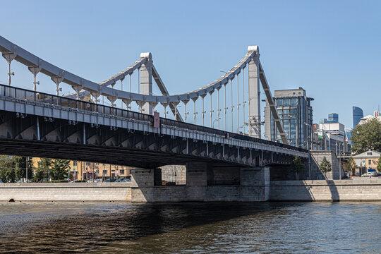 Hanging Crimean bridge over the Moskva River