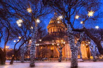 Saint Petersburg in winter. Russia Christmas evening. St. Isaac's Cathedral on Christmas night....