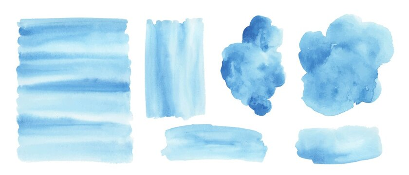 Blue watercolor background. Set of watercolor stains for design.