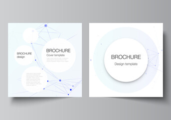 Obraz Vector layout of two square format covers templates for brochure, flyer, magazine, cover design, book design, brochure cover. Blue medical background with connecting lines and dots, plexus. - fototapety do salonu