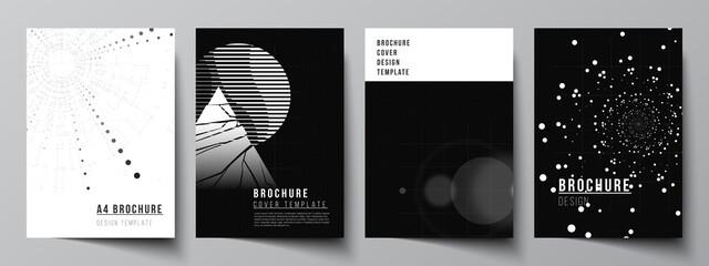 Obraz Vector layout of A4 cover design templates for brochure, flyer layout, booklet, cover design, book design. Black color technology background. Digital visualization of science, medicine, tech concept. - fototapety do salonu