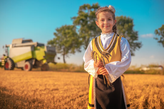 Girl with Bulgarian folklore costume at wheat field during harvest with combine by sunset