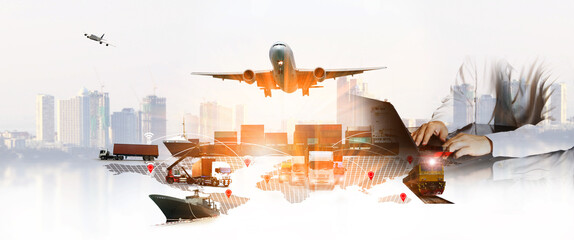 Obraz The world logistics  background or transportation Industry or shipping business, Container Cargo  shipment , truck delivery, airplane , import export Concept - fototapety do salonu