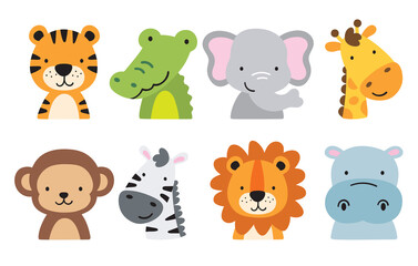 Obraz Cute wild safari jungle animals including a tiger, crocodile, alligator, elephant, giraffe, monkey, zebra, lion, and hippo. Vector illustration of jungle animal faces and heads. - fototapety do salonu