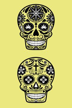 Day fo the dead skull. Dia de los muertos. vector design for brochure banner tattoo.