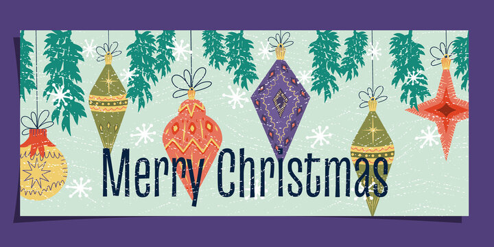 Mid-century Art Nouveau on a Christmas card. Happy Christmas text with tree toys, snowflakes, tree and vintage texture. Vector illustration, postcard template, banner for Happy New Year greetings