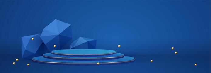 Fototapeta 3D realistic circle podium with geometric elemens. Empty stage. Showcase design. obraz