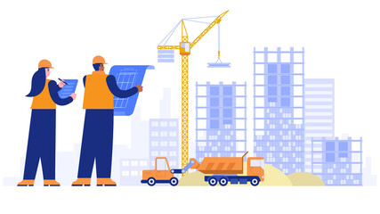 Fototapeta Construction site concept. Architect and engineer working with blueprint, making measurements, crane building house from plates, special machinery work. Vector illustration scene with characters obraz
