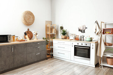Fototapeta Interior of modern kitchen with utensils obraz