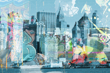 Fototapeta Big city background. Modern megapolis. Blue colours.City landscape. Illustration with skyscrapers, architecture, megapolis buildings. Design for wallpaper, wall mural, card, postcard, photo wallpaper. obraz