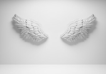 White angel wings on wall template