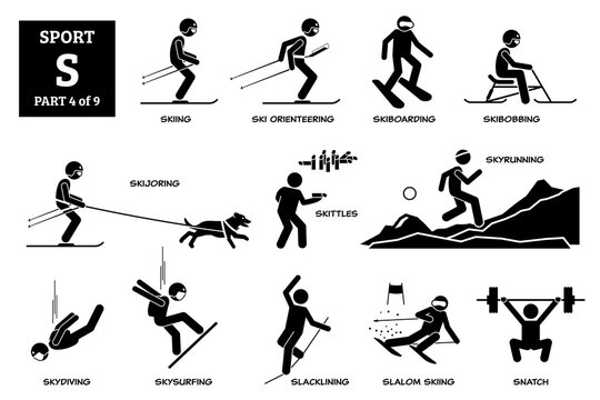 Sport games alphabet S vector icons pictogram. Skiing, ski orienteering, skiboarding, skibobbing, skijoring, skittles, skyrunning, skydiving, skysurfing, slacklining, slalom skiing, and snatch lifting