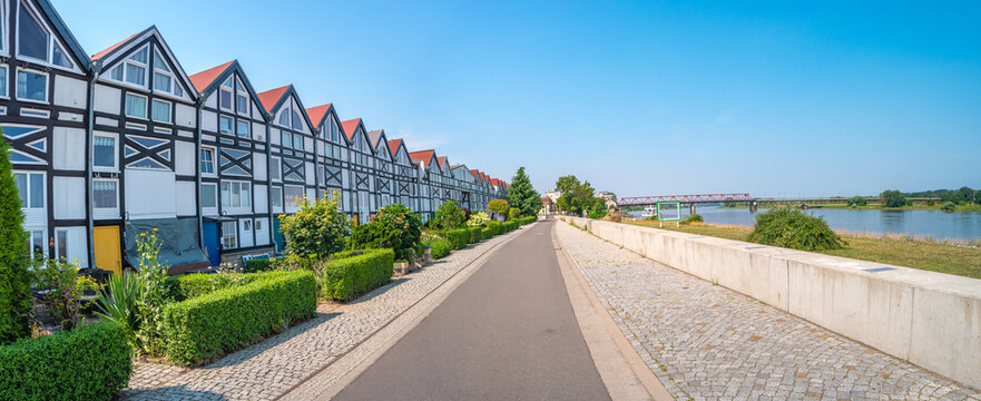 Panoramic view over old historical downtown, harbor in Schoenebeck, Bad Salzelmen, Salzlandkreis at Elbe River, Germany, at blue summer sky and sunny day.