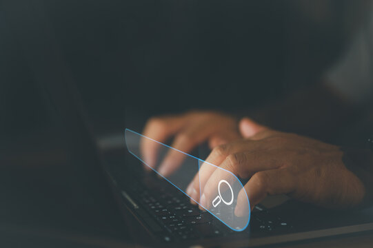 SEO Data Search Technology Search Engine Optimization. man's hands are using a computer laptop to find what they are interested in. Searching for information with your website. internet networking.