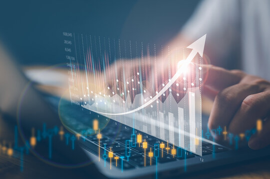 business finance technology and investment trading trader investor. Stock Market Investments Funds and Digital Assets. businessman analyzing forex trading graph financial data.
