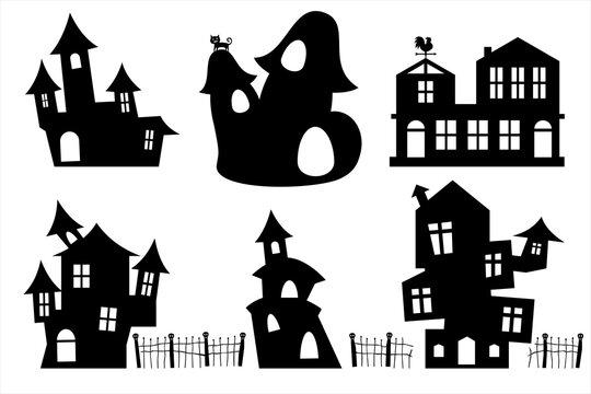 Set of black ghost house for design Halloween party banner brochure website