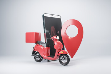 Obraz Mobile delivery concept with red scooter with trunk, pin location, and smartphone on abstract light background - fototapety do salonu