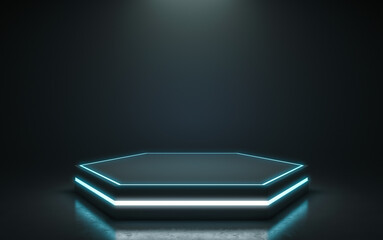 Fototapeta Futuristic pedestal for display. Blank podium for product. 3d rendering obraz