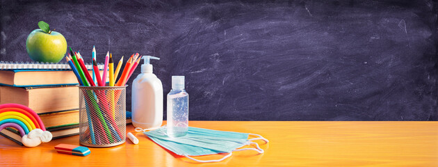 Back To School - Stationery With Covid-19 Protective Mask And Sanitizer