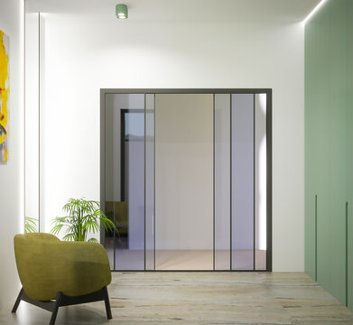 3d rendering of hall interior with mirror and olive wardrobe