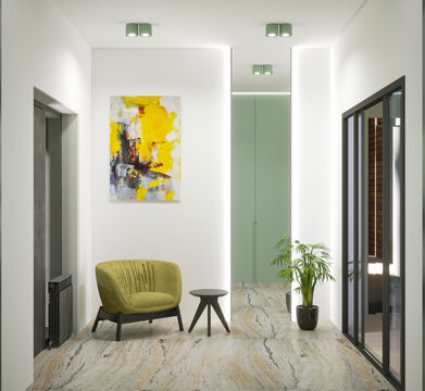3d rendering of home hall modern interior with mirror amd olive wardrobe