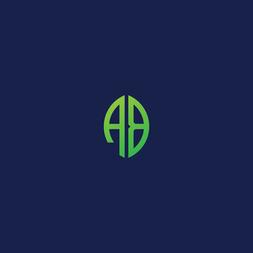 Creative initial letters AB with eco leaf shape logo.