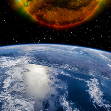 Earth and sun. The elements of this image furnished by NASA.