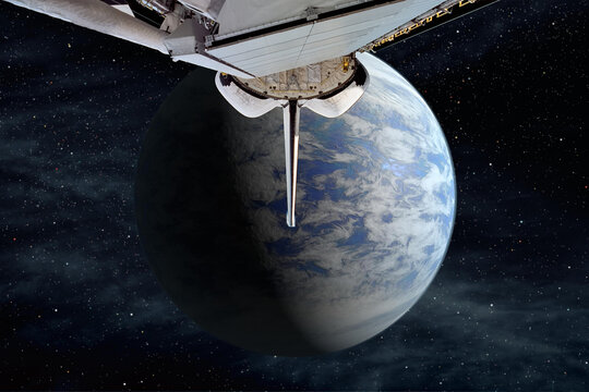 Trip to alien planet. The elements of this image furnished by NASA.