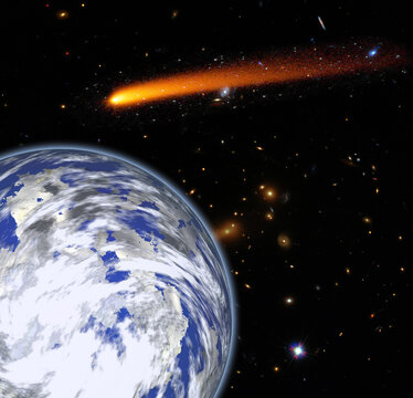 Comet over the earth. Meteor rain. The elements of this image furnished by NASA.