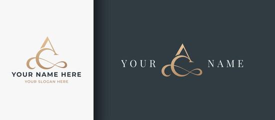 Obraz letter a c monogram serif logo design - fototapety do salonu