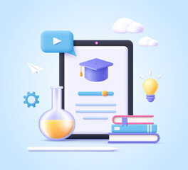 Fototapeta Concept of mobile learning, e-learning and online courses application. Education and back to school. 3d realistic vector illustration. obraz